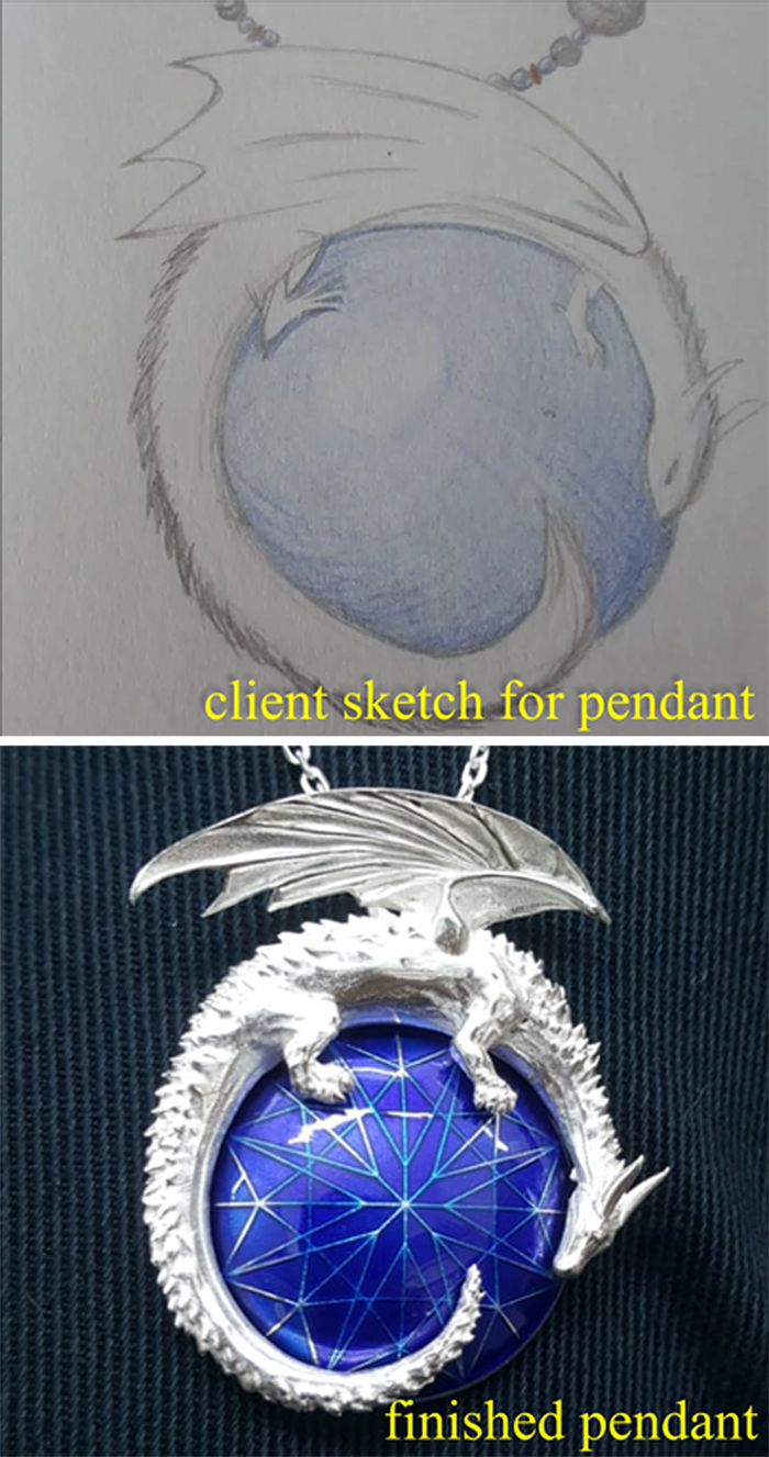expectation vs reality dragon pendant