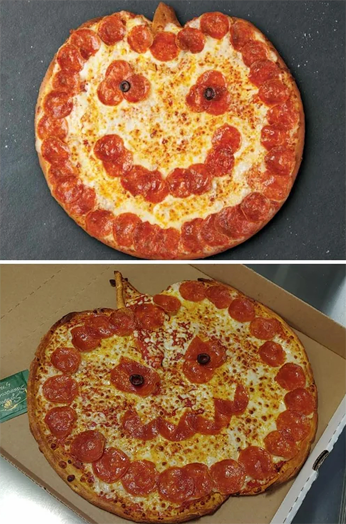 expectation vs reality jack-o-lantern pizza