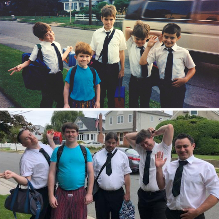family photo recreations brothers and cousins