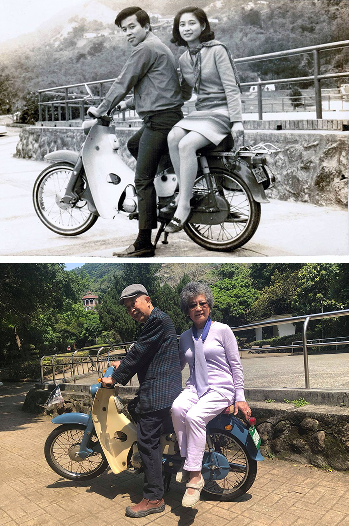 family photo recreations couple on a motorbike