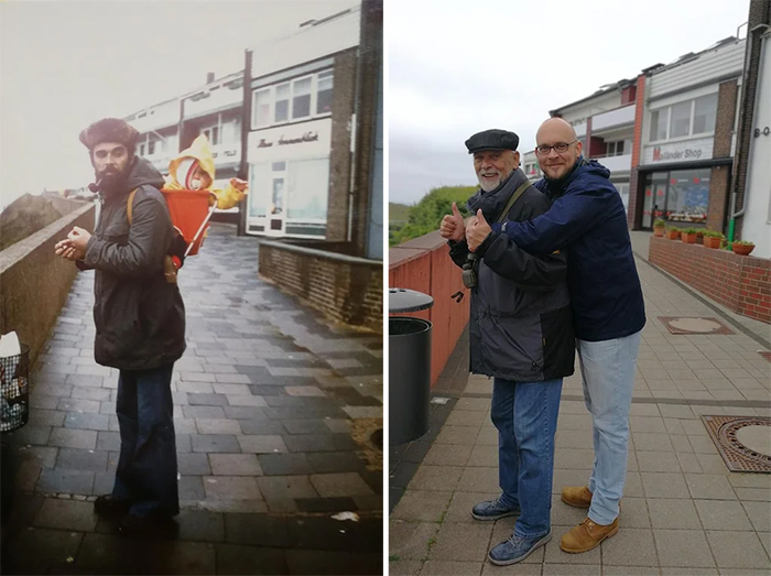 family photo recreations dad and son same spot