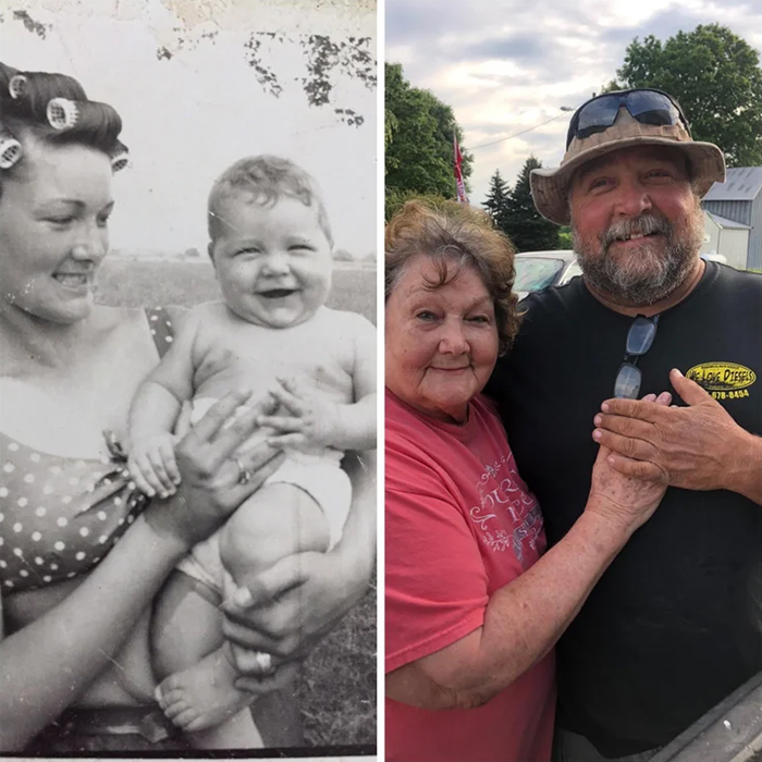 family photo recreations grandma and dad