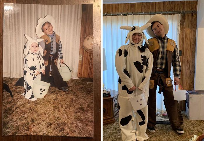 family photo recreations halloween costumes