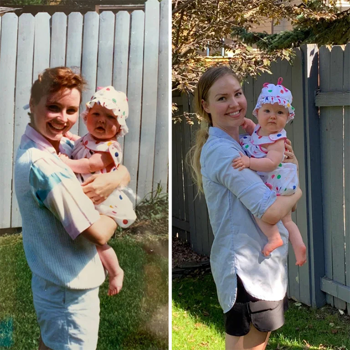 family photo recreations mom and daughter