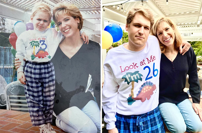 family photo recreations mom and son