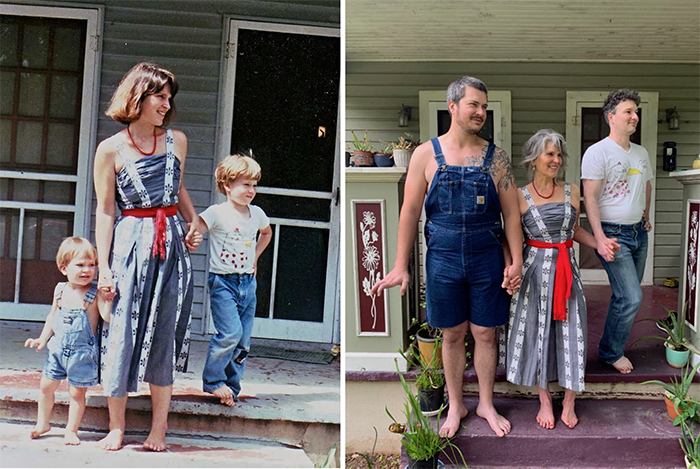family photo recreations mom and sons