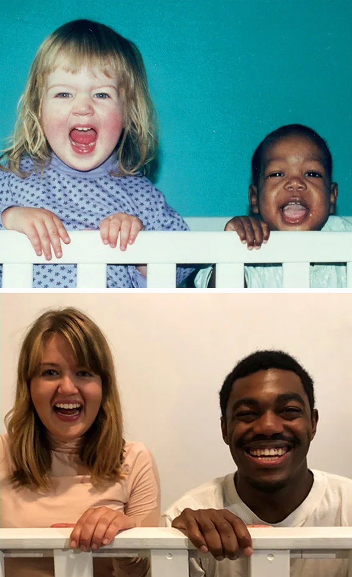 family photo recreations siblings in crib