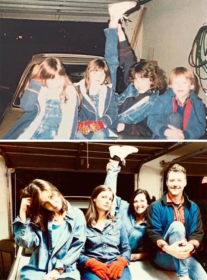 family photo recreations siblings in jeans