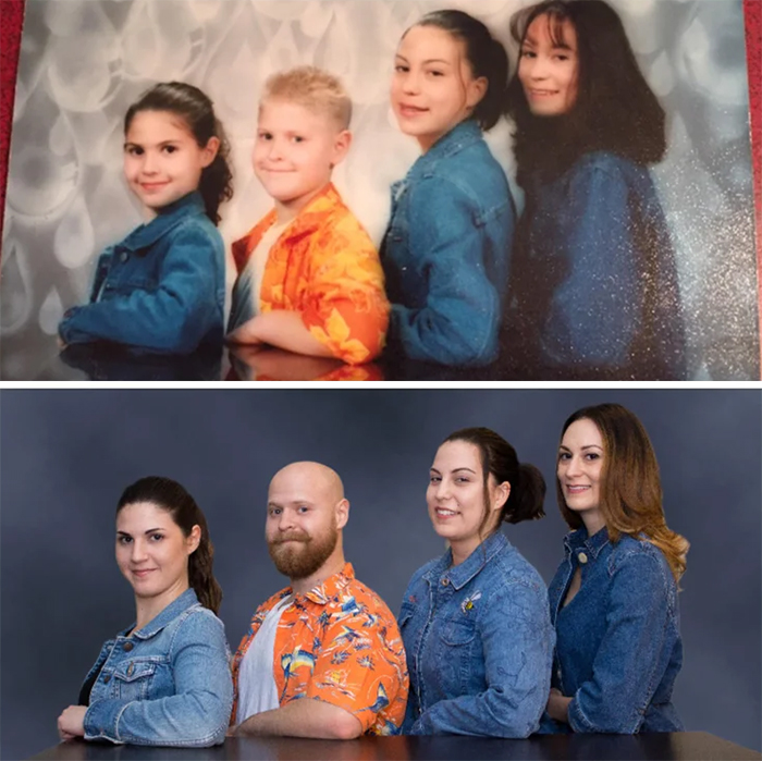 family photo recreations siblings mall photoshoot