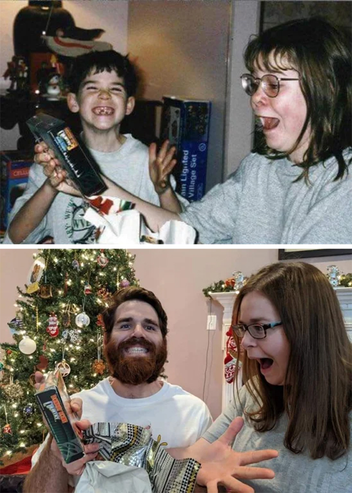 family photo recreations siblings opening gifts