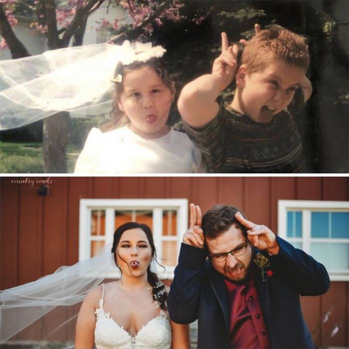 family photo recreations sister wedding