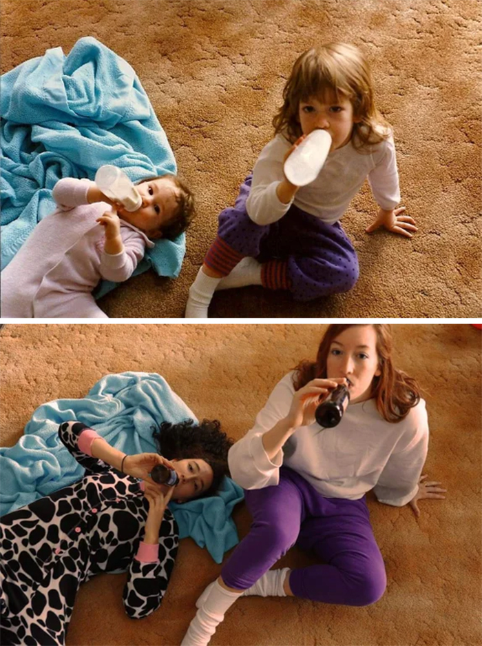 family photo recreations sisters from milk to booze