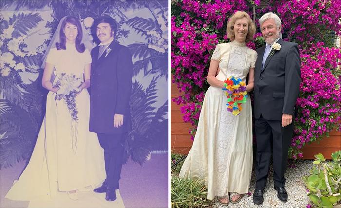 family photo recreations wife wears wedding dress