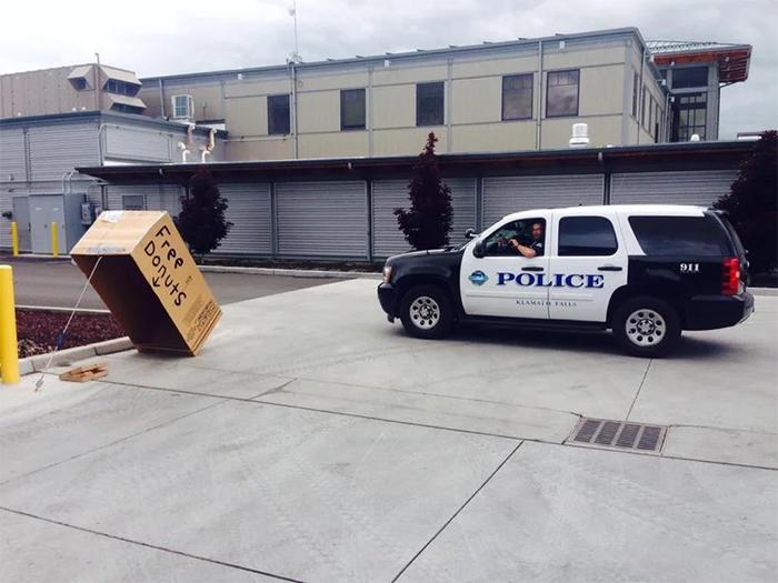 free donuts police prank