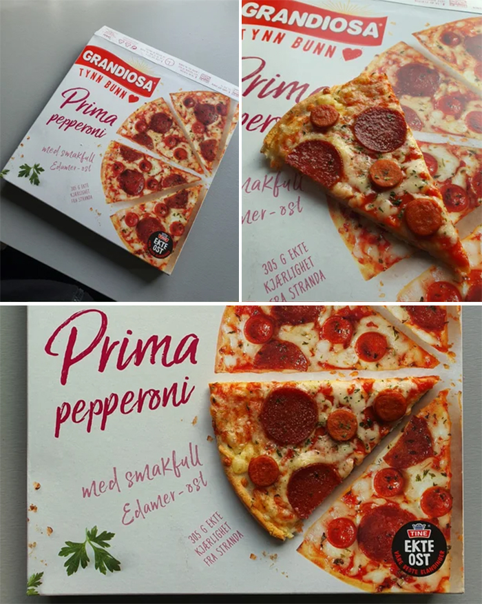 frozen pizza looks exactly like the packaging