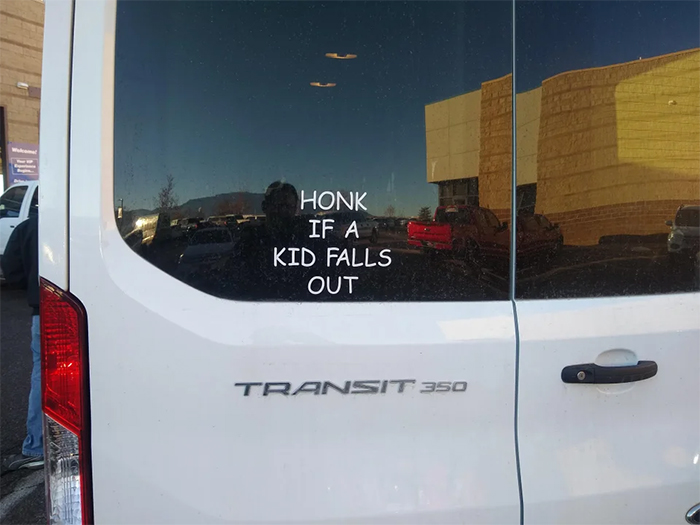 funny car sticker honk if a kid falls out