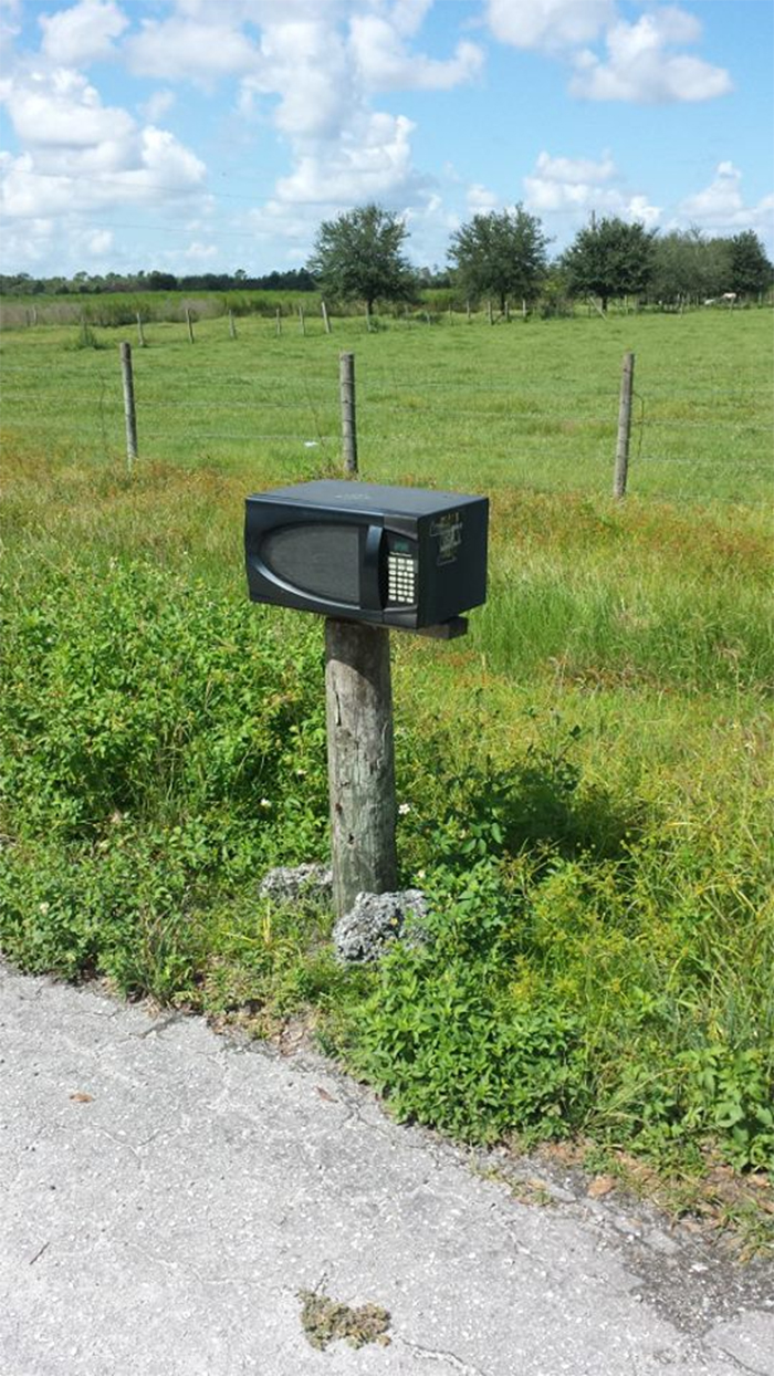 funny neighbours microwave mailbox