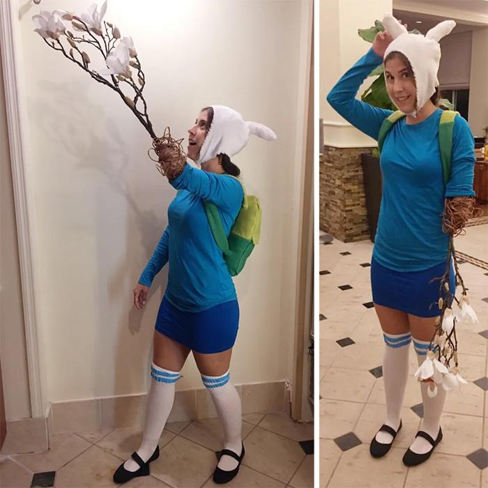 girl cosplays finn adventure time