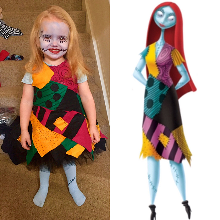 girl dressed up as sally the nightmare before christmas