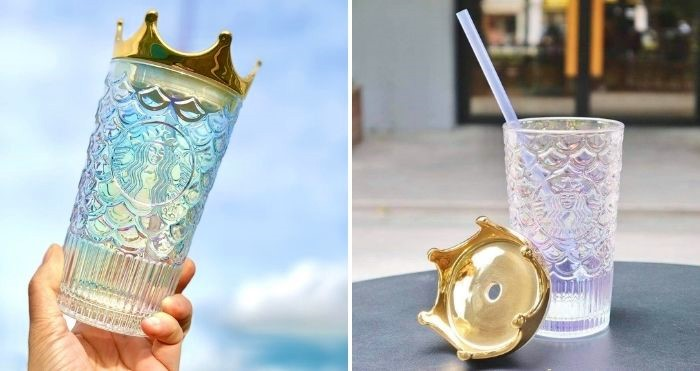 glass tumbler with gold crown