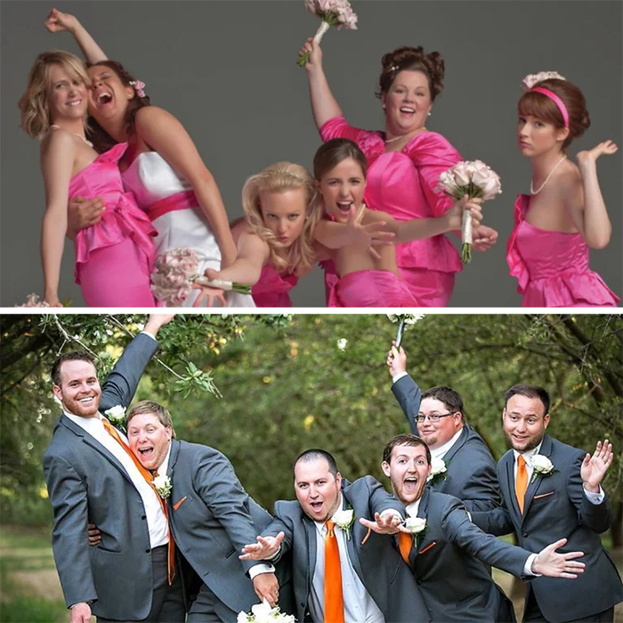 groomsmen recreate bridesmaids poster