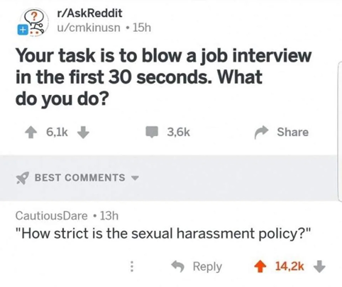 hilarious answer blow a job interview