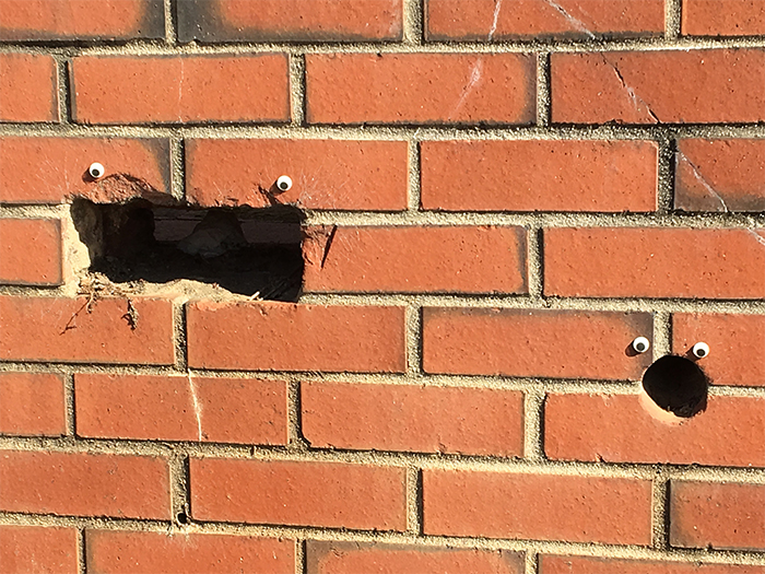 holes in the wall look horrified