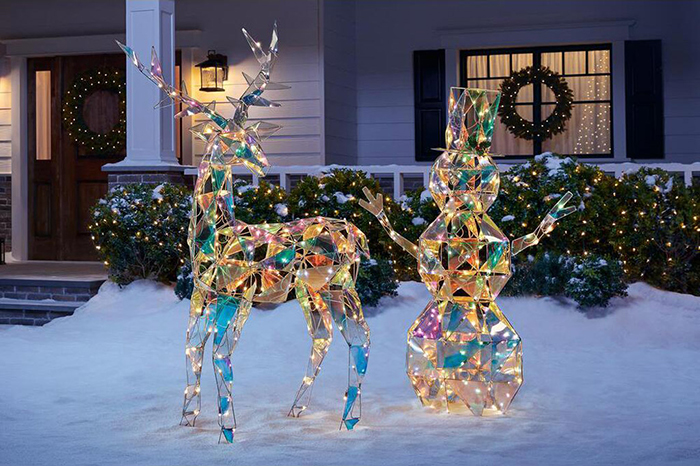 iridescent reindeer and snowman statues