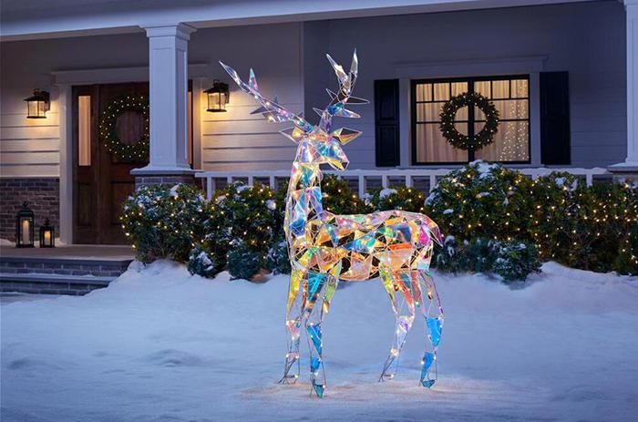 home depot sparkling modern angular iridescent reindeer statue