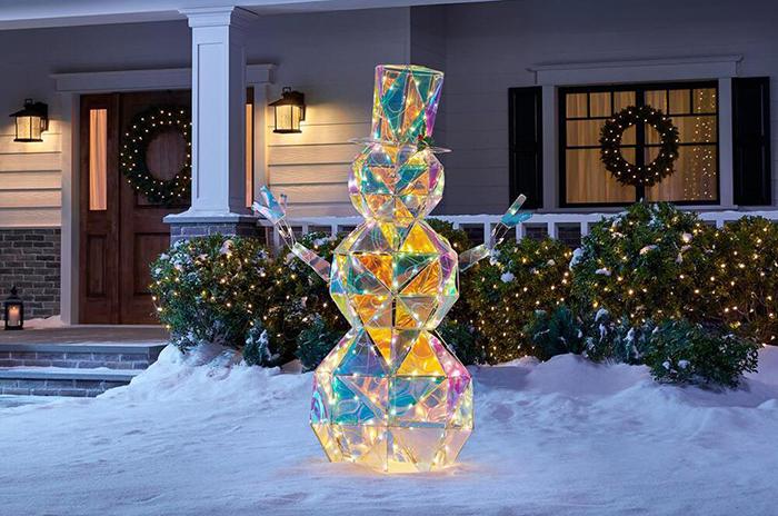 home depot sparkling modern angular iridescent snowman statue