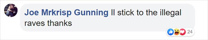 joe mrkrisp gunning facebook comment