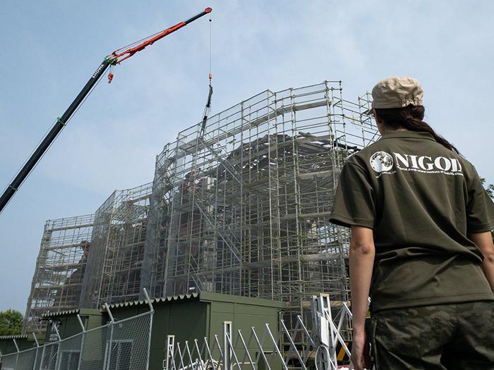 life size godzilla structure at nijigen no mori theme park under construction