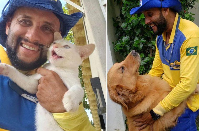 mailman selfies with animals