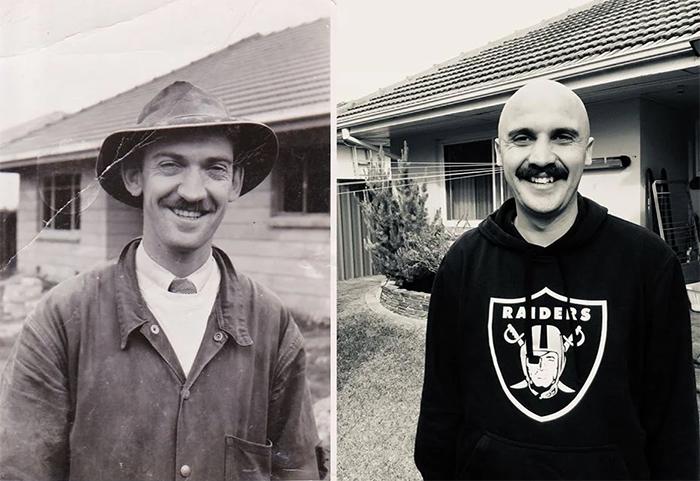 man and his grandpa 65 years apart