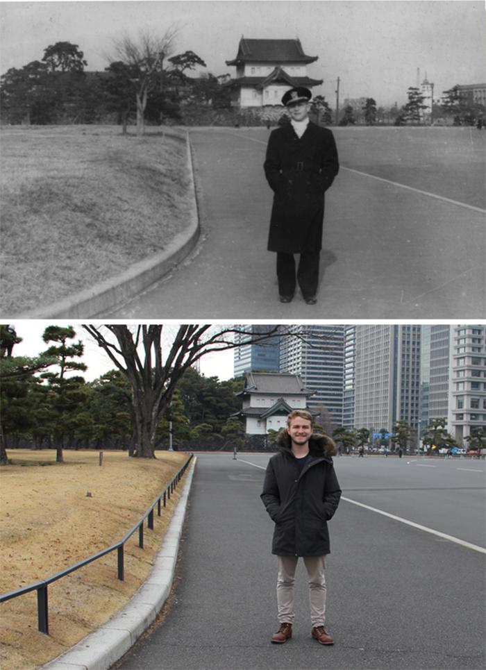 man recreates grandfather pic in tokyo