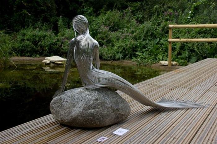 mermaid steel wire sculptures