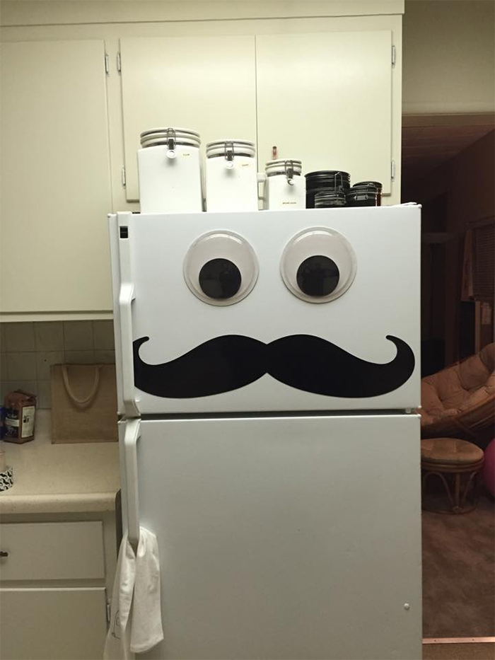 mister fridge with mustache