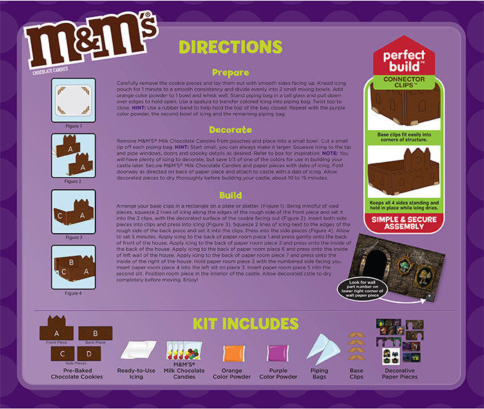 m&m's haunted castle chocolate cookie kit box