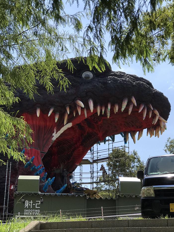 nijigen no mori theme park life size godzilla structure by 7shine7