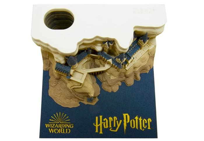 omoshiroi block hogwarts castle memo pad with pen holder