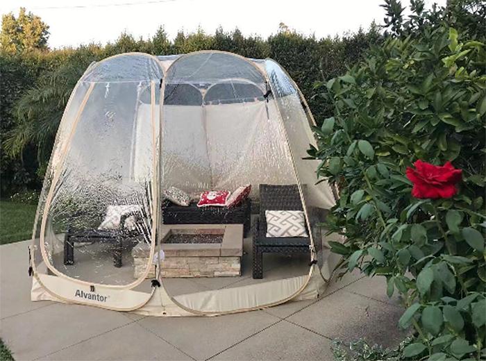 outdoor bubble tent backyard