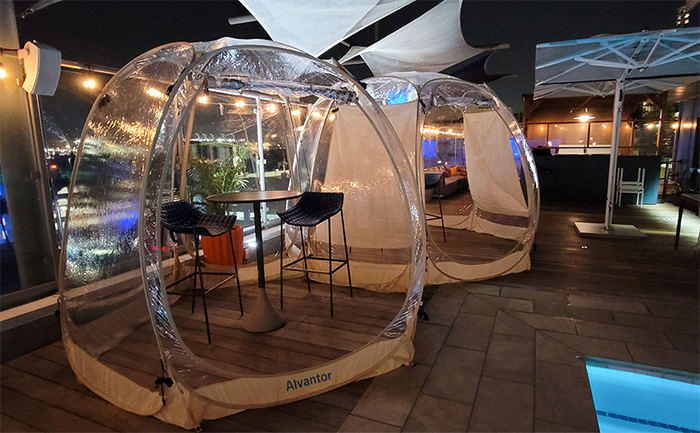 outdoor bubble tent social distancing