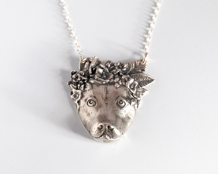pitbull flower necklace by jtopolski