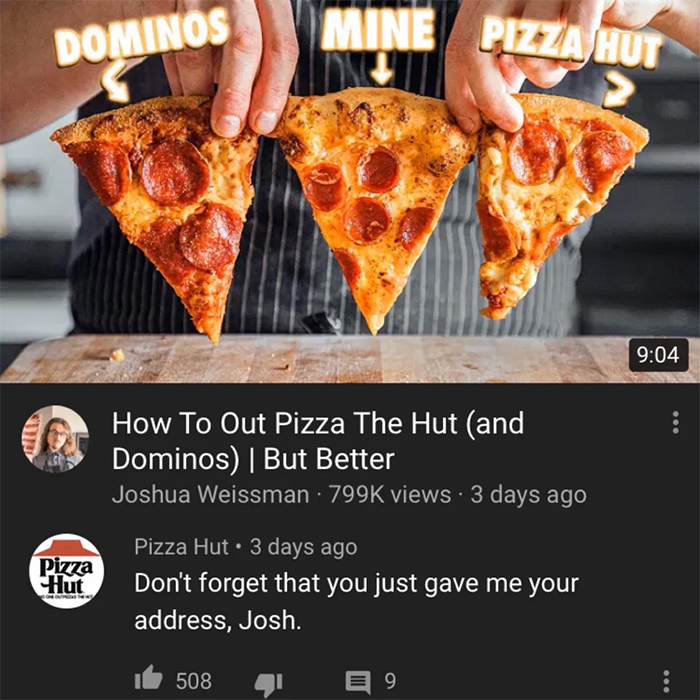 pizza hut responds to youtuber