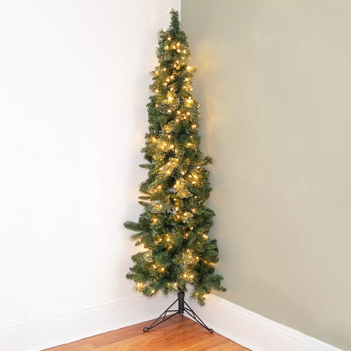 pre-lit half christmas tree
