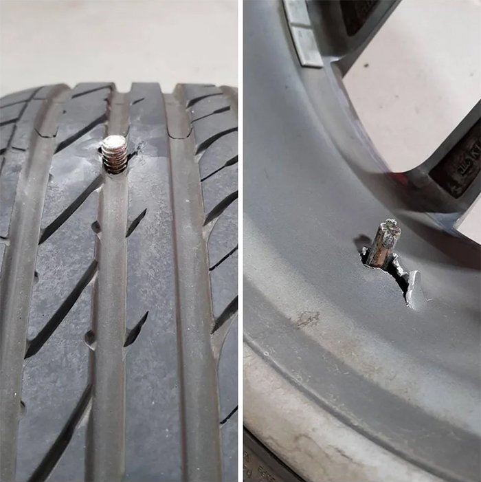 punctured tire screwed