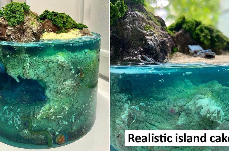 realistic island cakes