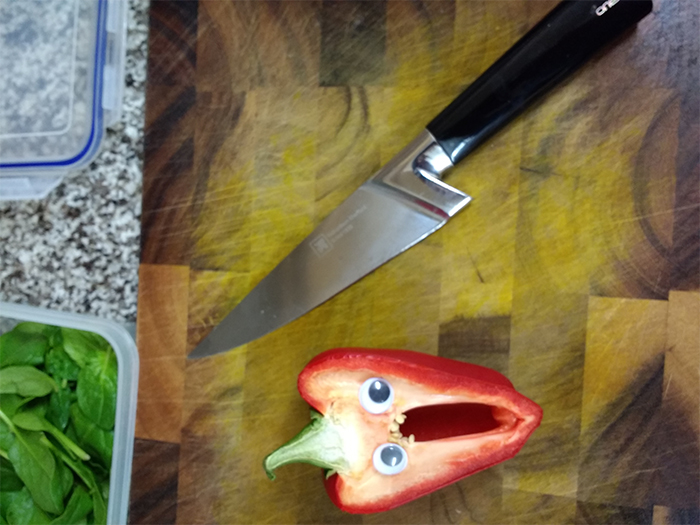 red bell pepper screaming