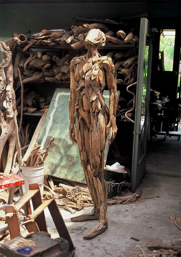 sculptures made of driftwood