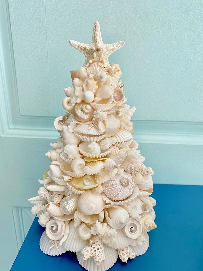 seashell christmas tree decor by kp seashell designs